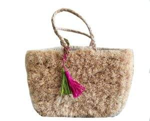 Raffia Straw Covered Tote