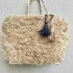 Fuzzy Raffia Straw Covered Tote Bag