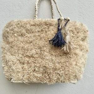 Fuzzy Raffia Straw Covered Tote Bag