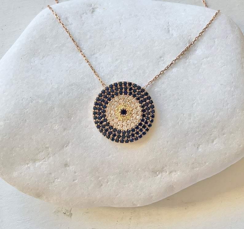 large rose gold eye pendant necklace