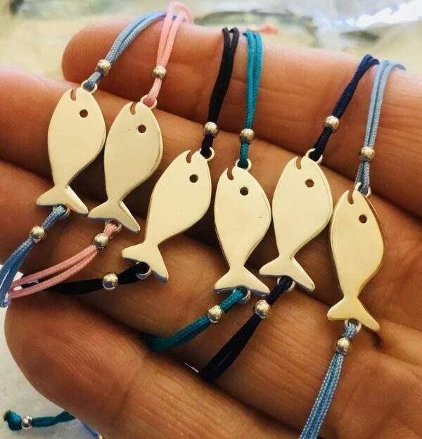 Hippie Fish Silver Charm Macrame Bracelet