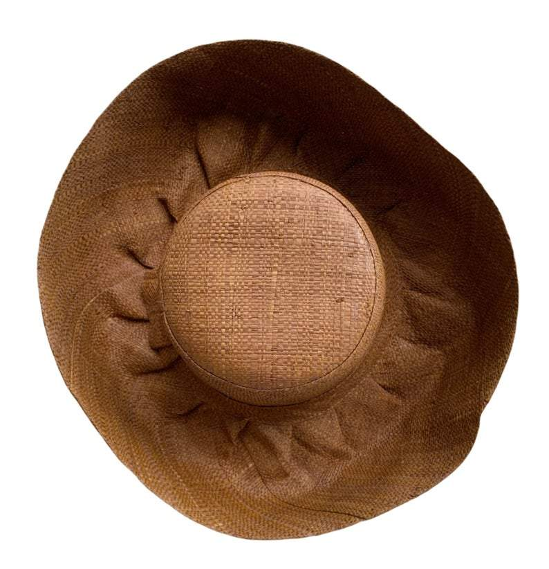 Brown Sun Hat With Up Turn Brim