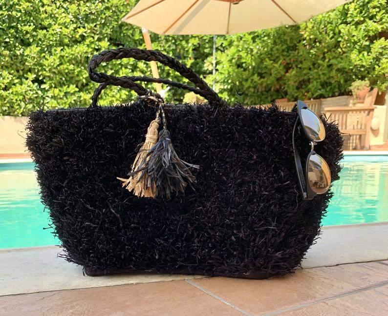 Black Raffia Fuzzy Tote Bag