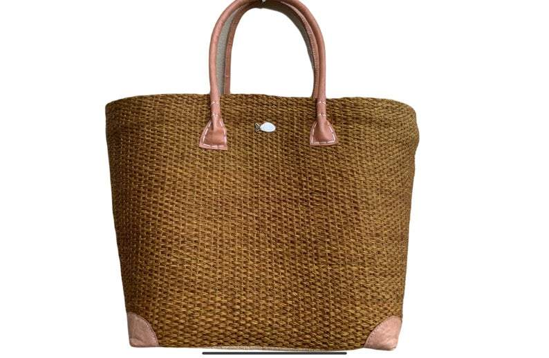 Straw Tote Bag with Long Handles