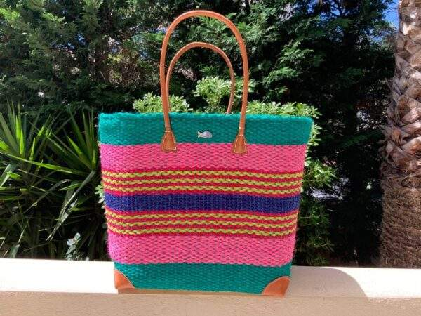 Sisal Striped Beach Tote with Long Handles