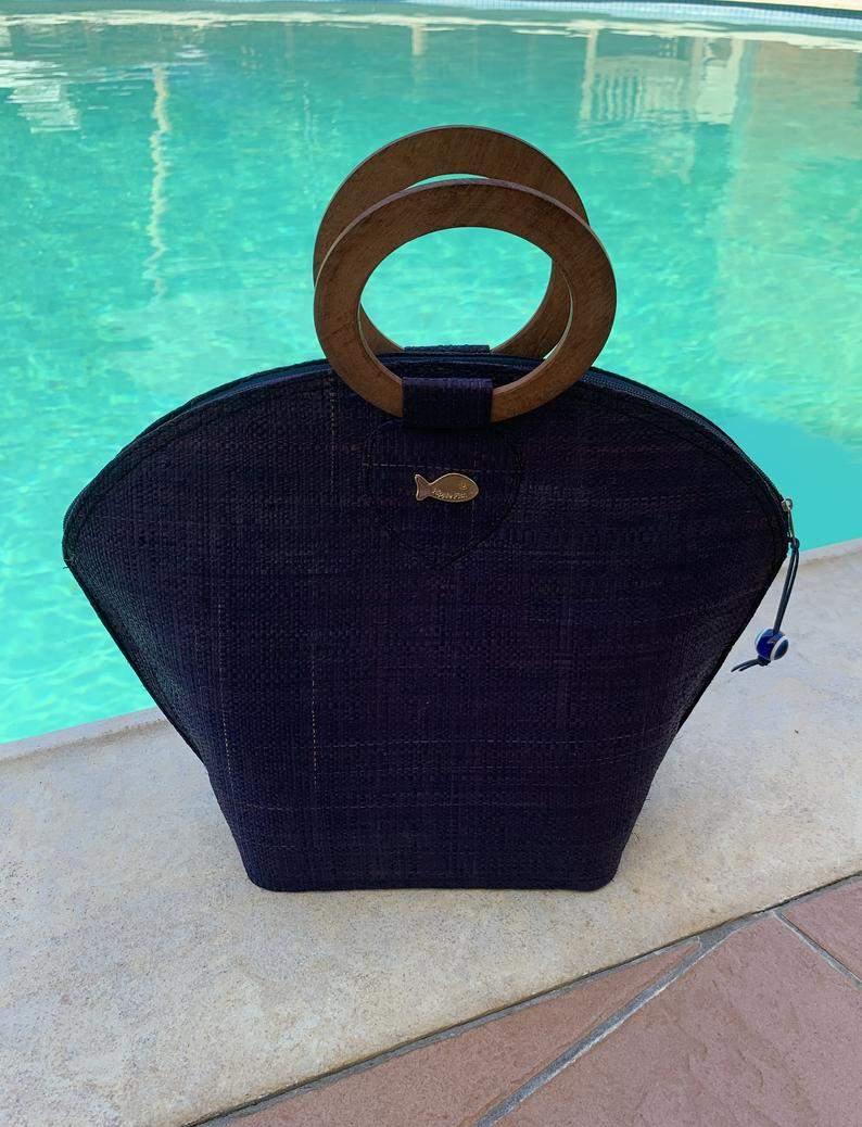 Blue Raffia Bag with Wooden Handles