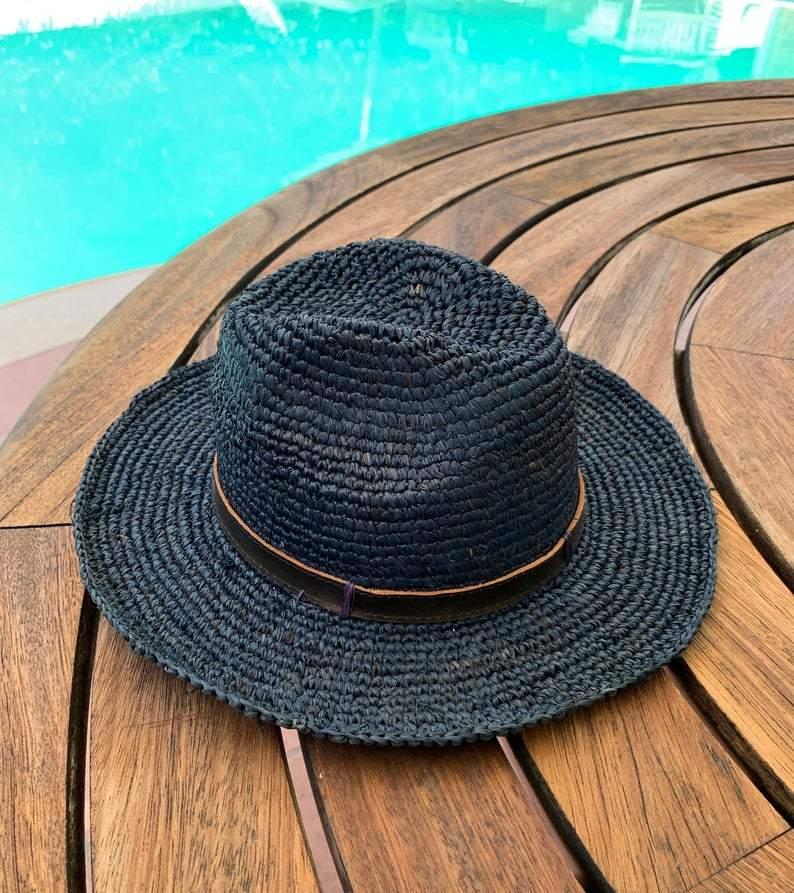 Blue Crochet Raffia Panama Hat